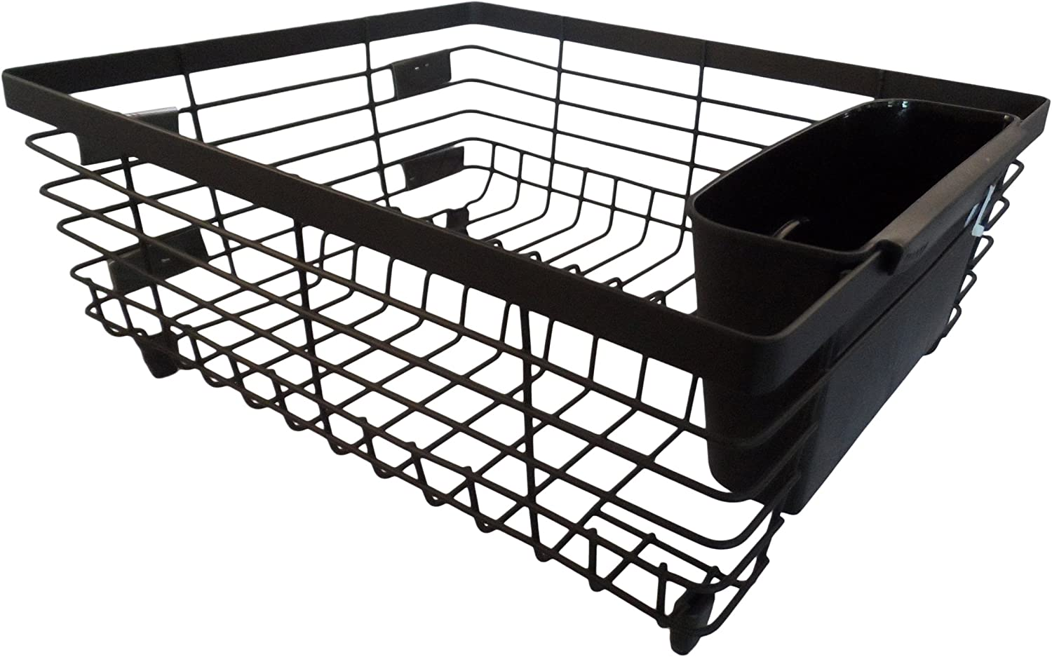Kitchen Details Flat Wire Countertop or Over The Sink Dish Drying Rack with Cutlery Basket, Black