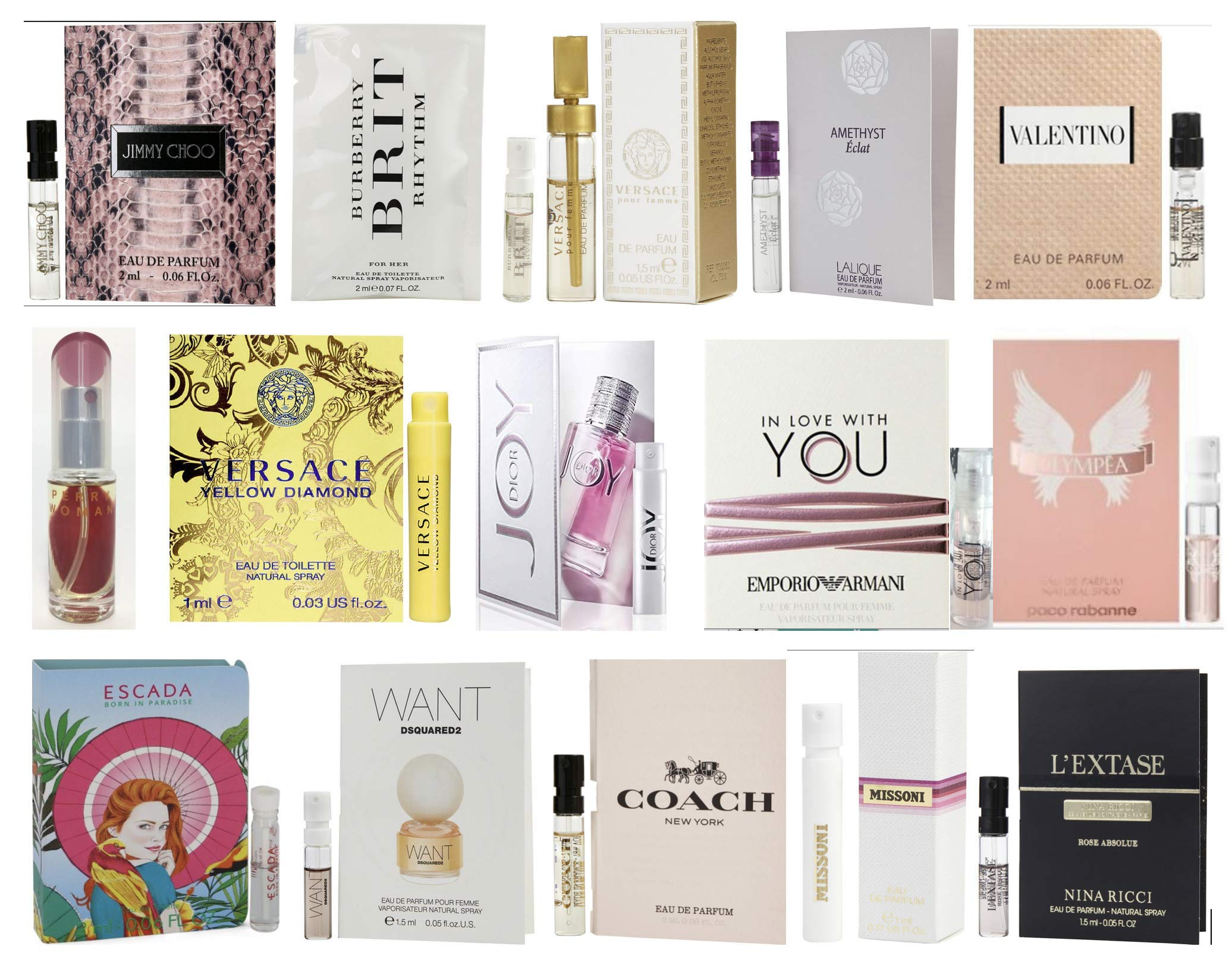 Designer Fragrance Samples for Women - Sampler Lot x 15 Perfume Vials by Pilestone