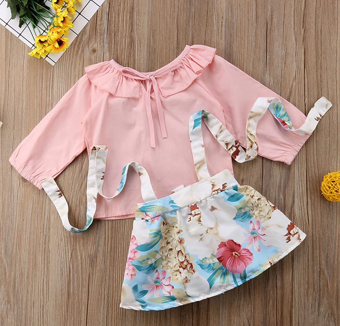 rechange 2Pcs Baby Girl Cute Long Sleeve Pink Top Floral Suspender Skirt Overalls Outfit Set Infant Summer Clothes