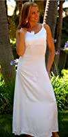 1 World Sarongs Womens Long White Lined Summer Dress