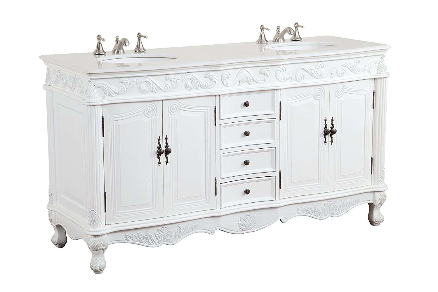 72 Antique white Classic Beckham Bathroom sink vanity Model CF-3882W-AW-72