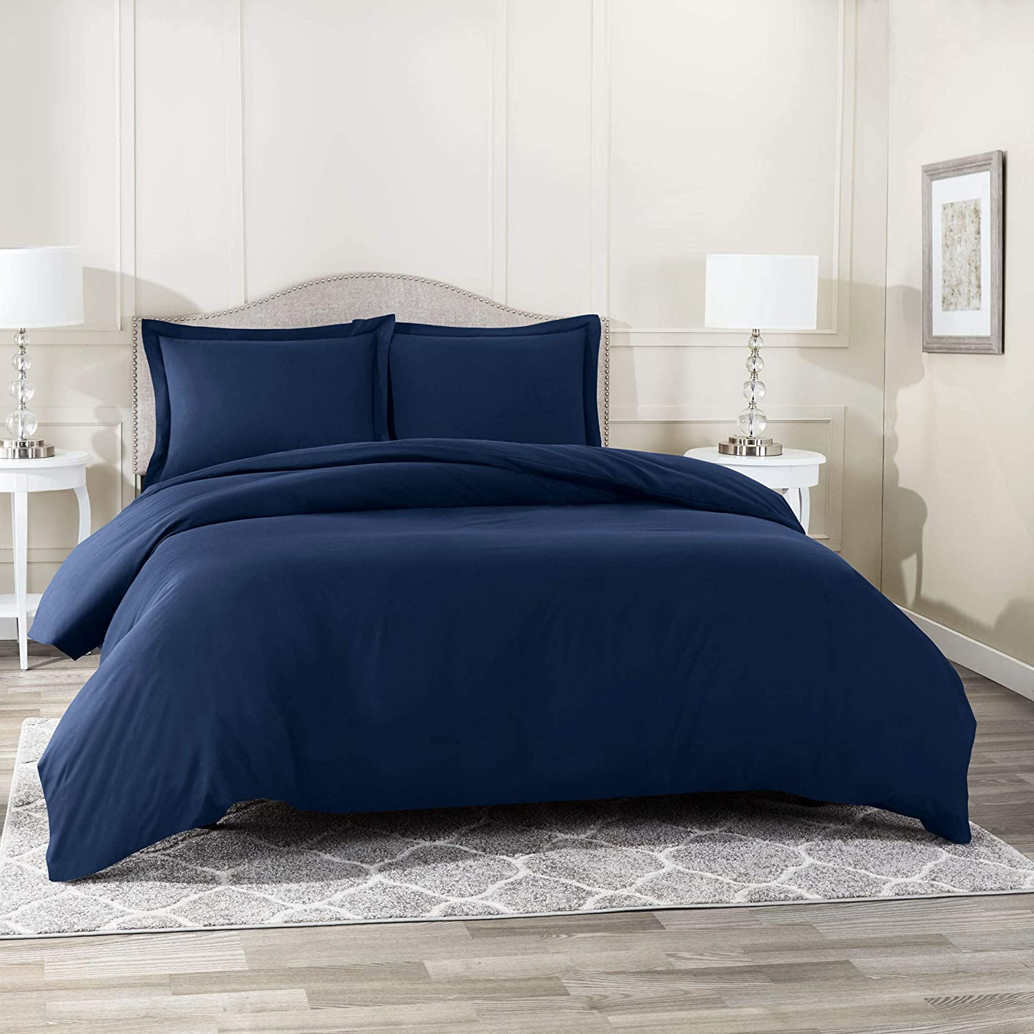 """Nestl Bedding Duvet Cover 3 Piece Set – Ultra Soft Double Brushed Microfiber Hotel Collection – Comforter Cover with Button Closure and 2 Pillow Shams, Navy - California King 98""""x104"""""""
