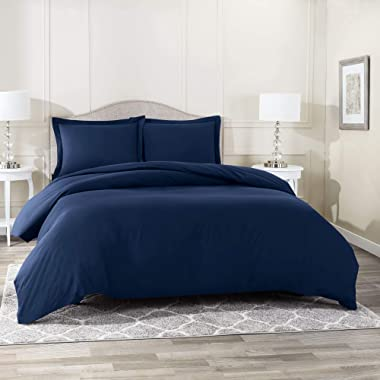 Nestl Bedding Duvet Cover 3 Piece Set – Ultra Soft Double Brushed Microfiber Hotel Collection – Comforter Cover with Button Closure and 2 Pillow Shams, Navy - Queen 90 x90