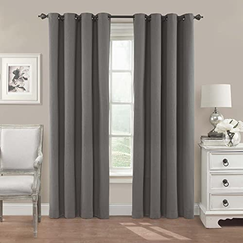 Eclipse Nadya Solid Thermal Insulated Single Panel Grommet Top Darkening Curtains for Living Room, 52 x 95 , Smoke