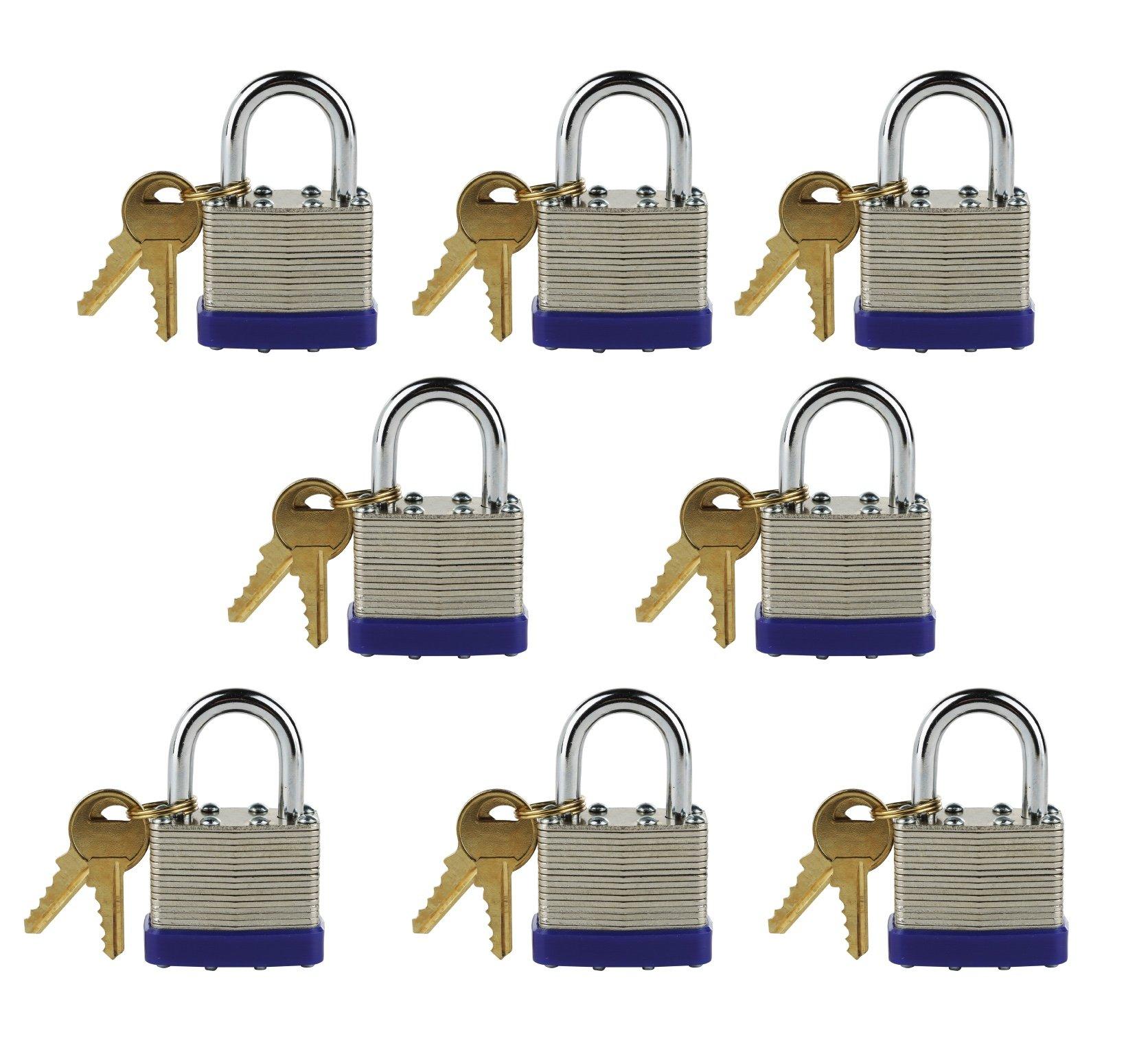 Laminated Steel Keyed-Alike Padlocks, 1 7/8'' Shackle, ¼'' Diameter (A802) 40mm Body, Multiple Padlocks (Pack of 10) by Lucky Locks