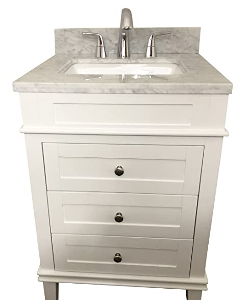 Superbe 24 Inch Solid Wood White Bathroom Vanity Cabinet With 3 Drawers ,Natural  Italian Carrara Marble