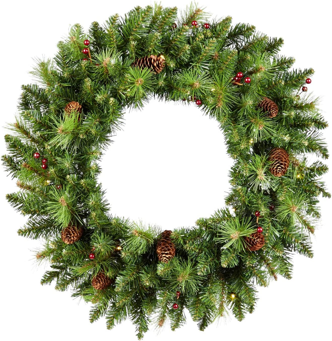 NOMA Pre-Lit 24-inch LED Berry & Pinecone Christmas Wreath with Battery Operated Lights | 20 Warm White Bulbs | 160 Pine Tips