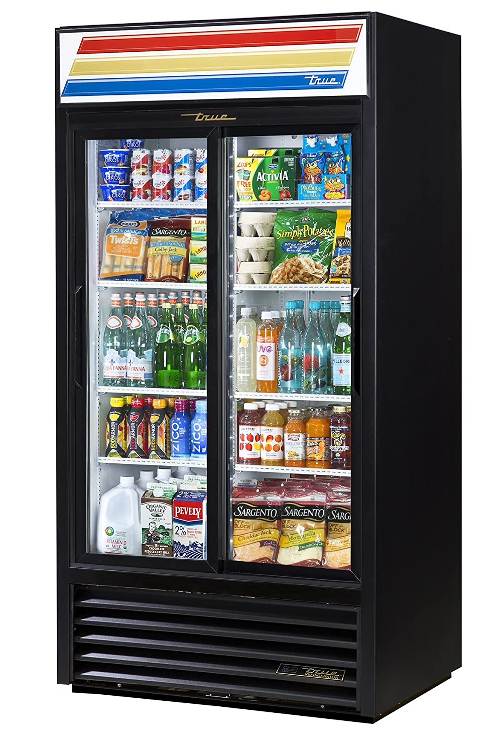 "True GDM-33-HC-LD Sliding Glass Door Merchandiser Refrigerator with Hydrocarbon Refrigerant and LED Lighting, Holds 33 Degree F to 38 Degree F, 78.625"" Height, 29.875"" Width, 30"" Length"