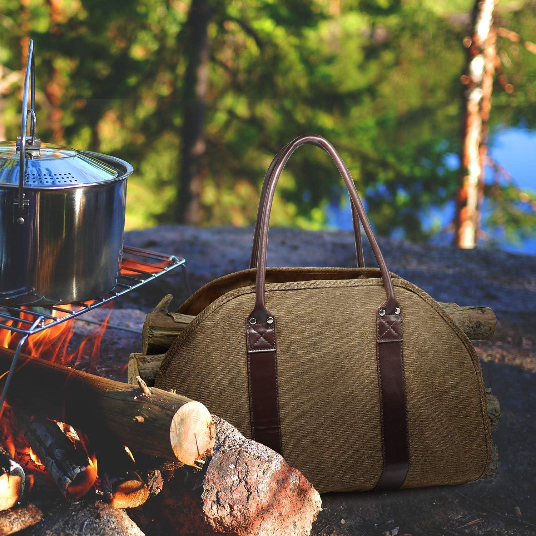 HAPPYX Lourd Devoir R/ésistant /à leau Toile Bois de Chauffage Sac /à B/ûches Transporteur pour Le Camping Lext/érieur