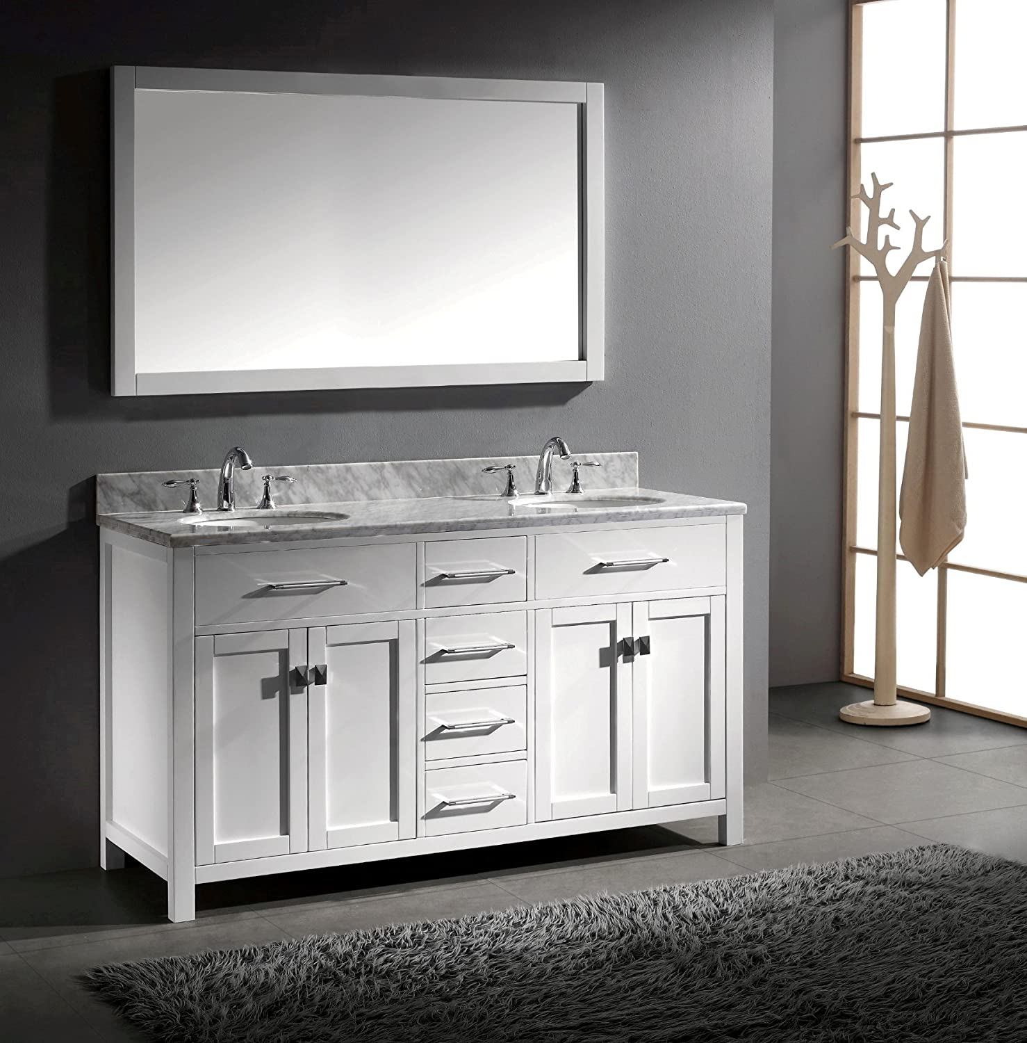 virtu usa caroline 60inch bathroom vanity with double round sinks in white and italian carrera white marble amazoncom - 60 Bathroom Vanity