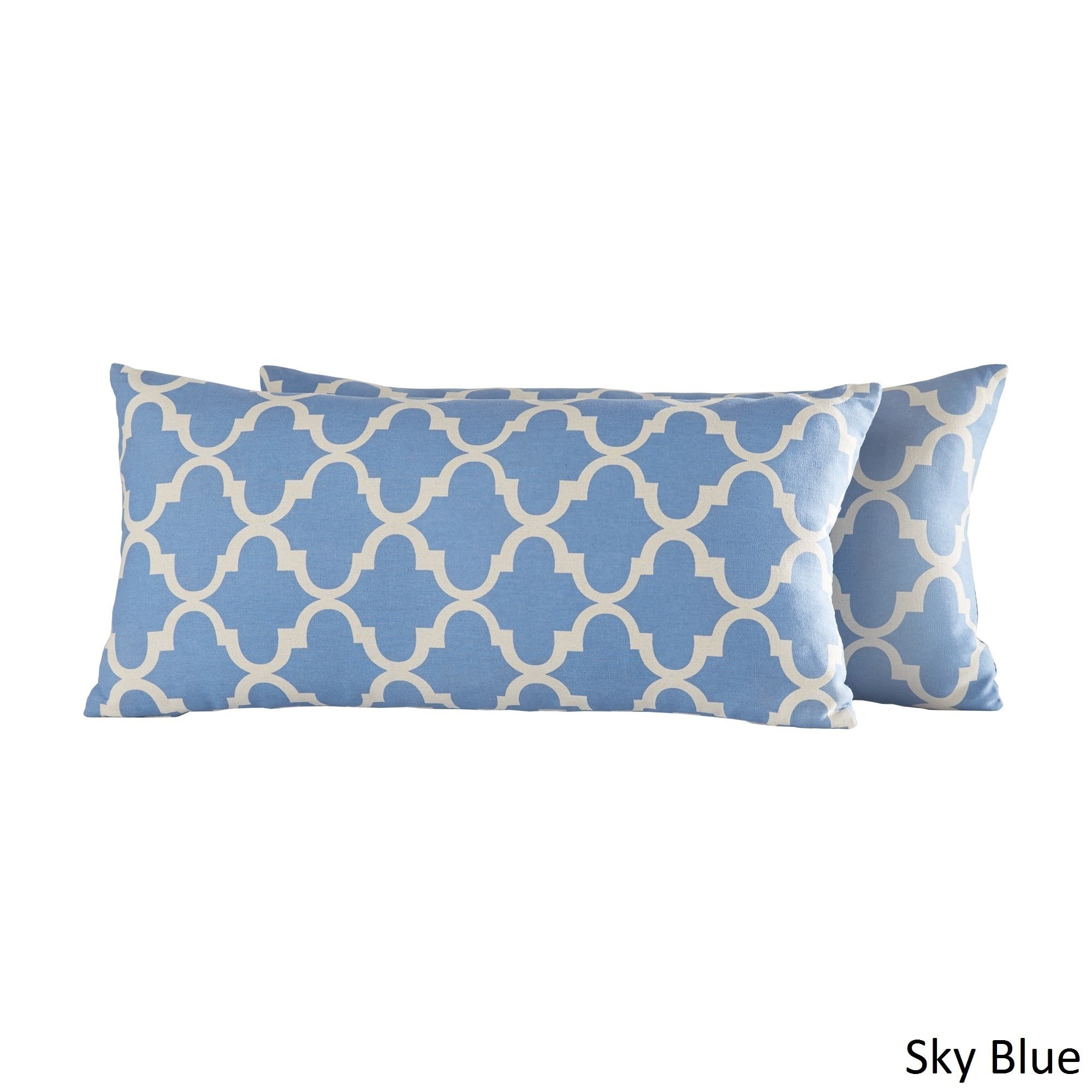 iNSPIRE Q Montvale Moroccan Pattern Toss Kidney Pillow (Set of 2) by Bold Light Blue