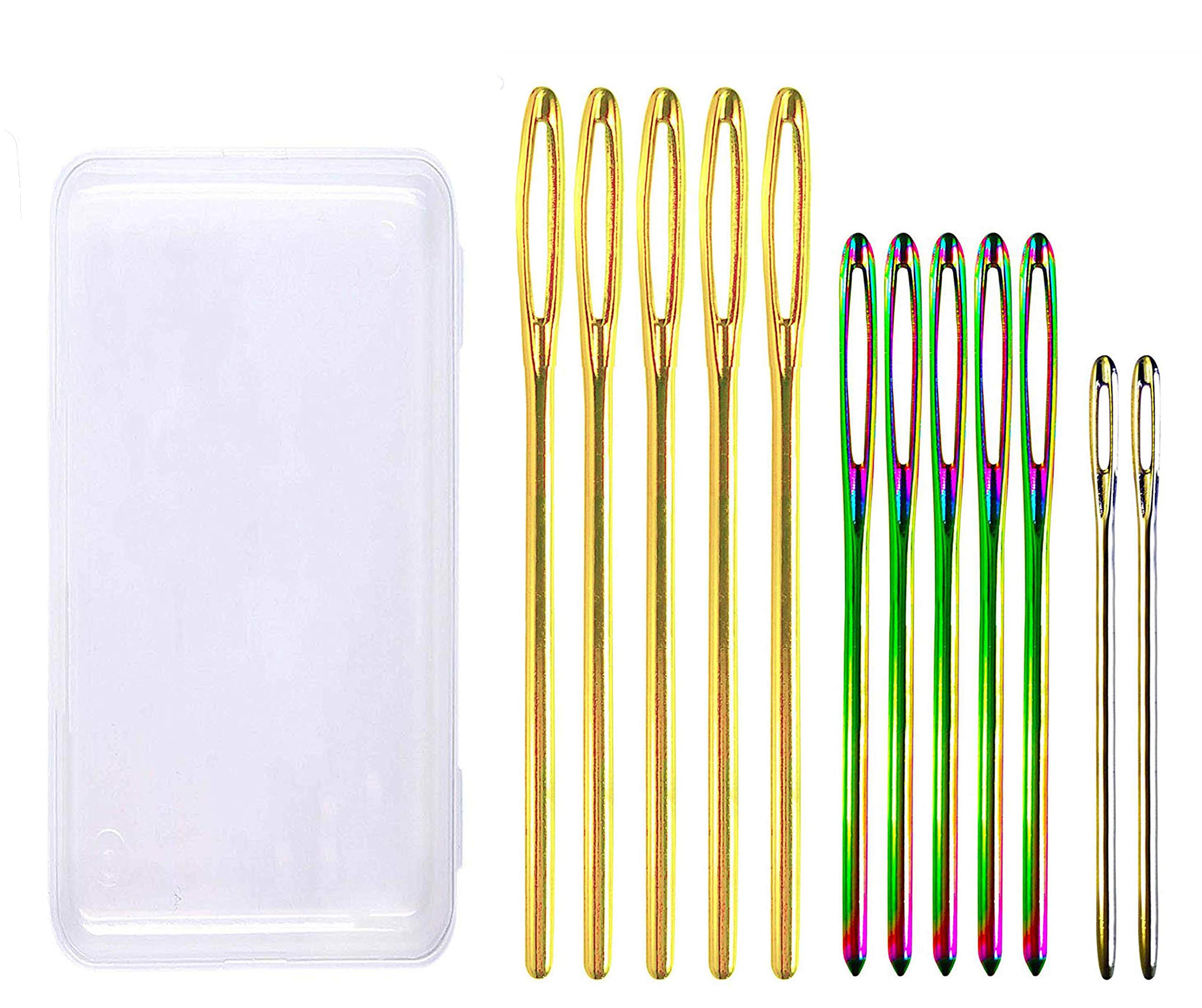 24 Pieces Large Eye Blunt Needles,Steel Yarn Knitting Needles Sewing Needles Embroidery Needles 3 Sizes Darning Tapestry Needles with Clear Bottle