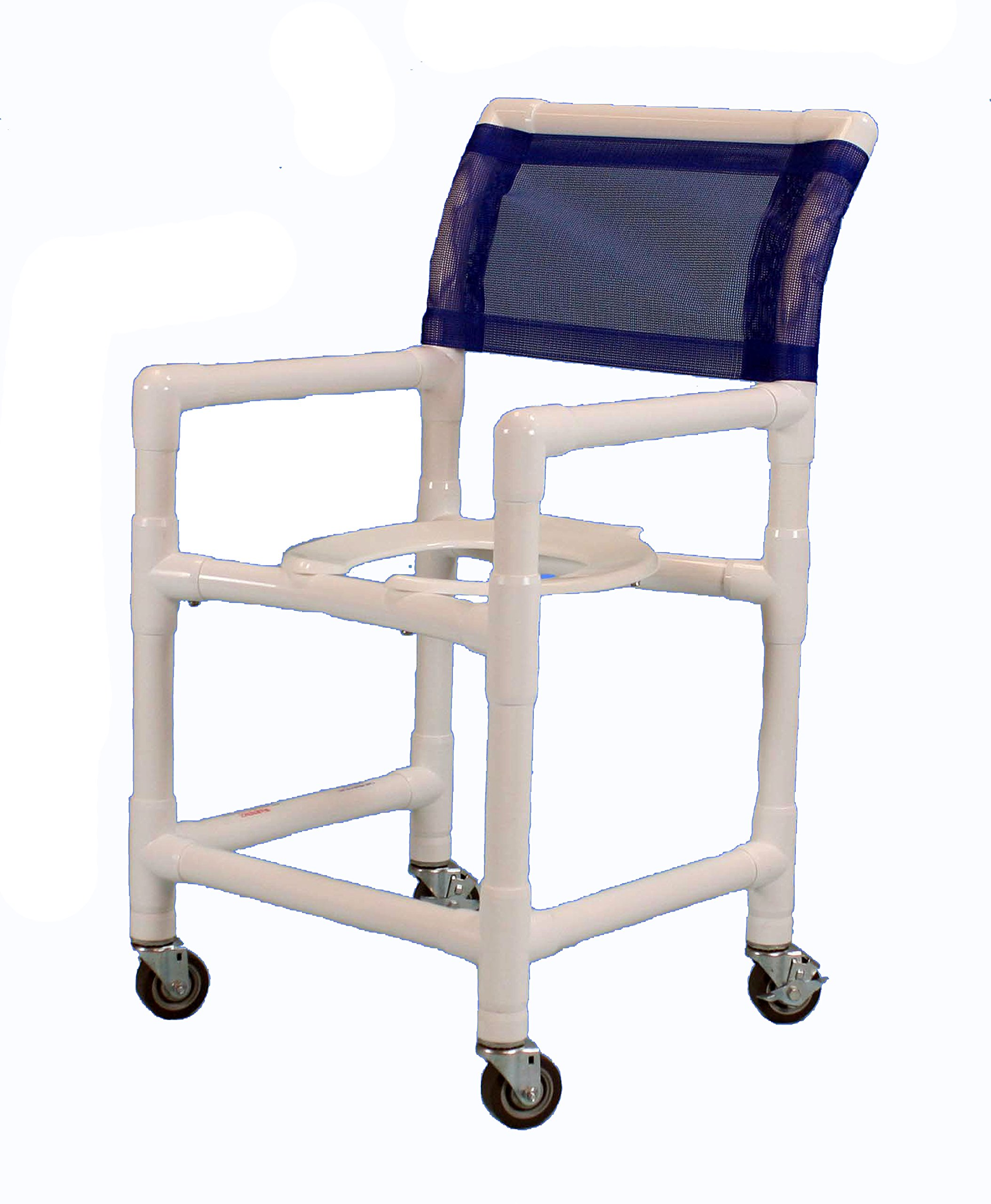 Care Products 550ESL-RB Standard Shower Chair with Slanted Seat, 3'' SX Casters, 38'' Height, 18'' width, 21'' Length