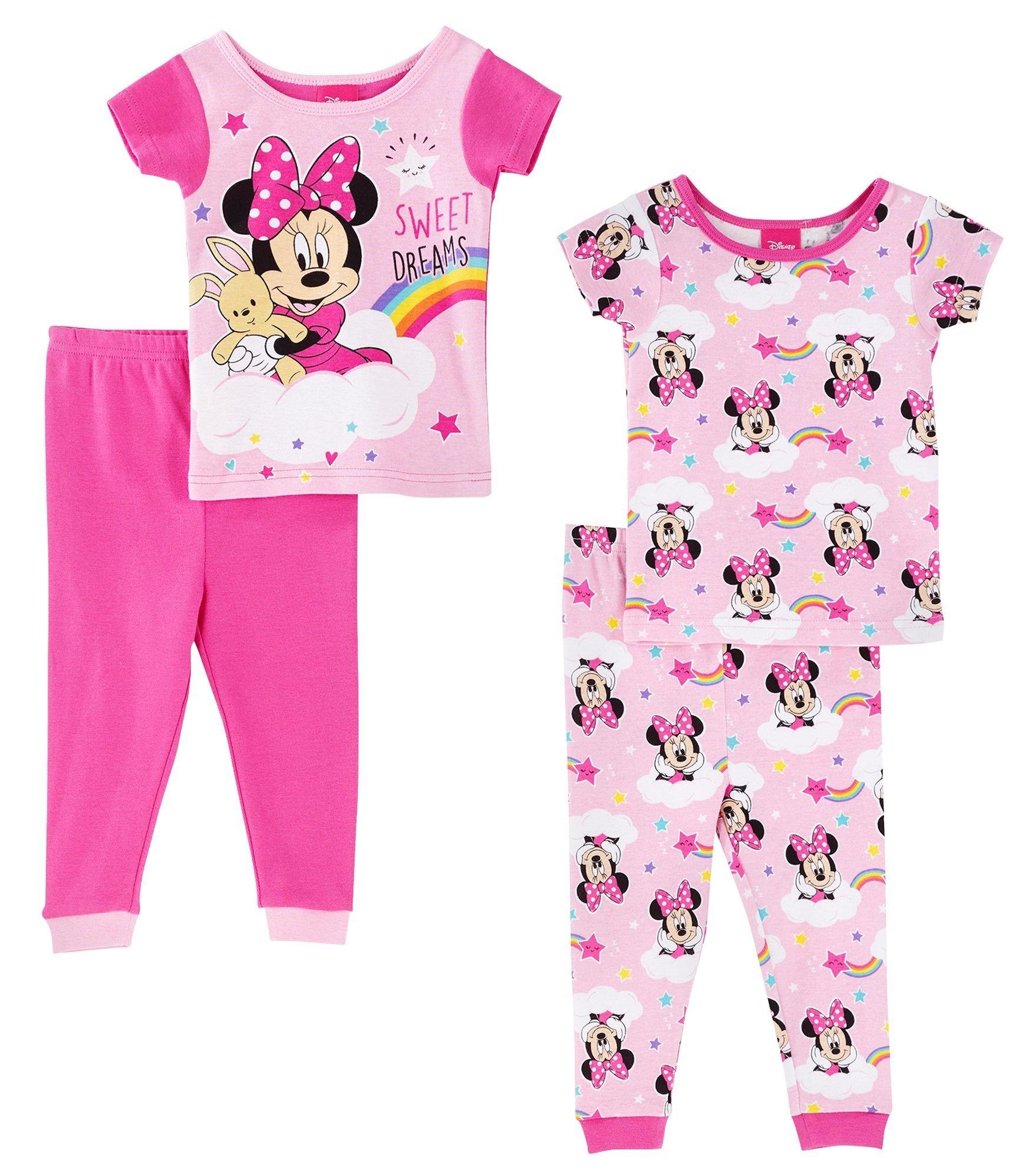 Disney Minnie Mouse Sweet Dreams Girls 4 Piece Pajama Set, Toddlers Size 4T