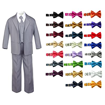 6pc Baby Toddler Boy Teen Formal Party Suit w/Satin Bow Tie Medium Gray Sm-20