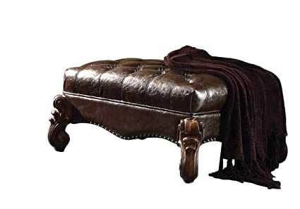 Astounding Acme Versailles 2 Tone Dark Brown Faux Leather Ottoman Dailytribune Chair Design For Home Dailytribuneorg
