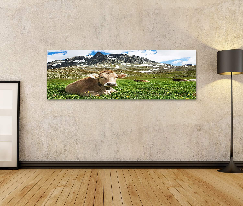 islandburner Quadro Stampa su Tela Quadri Moderni Mucca da Latte con pascolo sulle Montagne Alpine della Svizzera pascolo dellerba Verde sopra Cielo Blu TWQ
