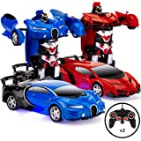 Best Choice Products Set of 2 1/18 Scale RC Remote Control Transforming Robot Sports Car Toys w/ 1 Button Transformation