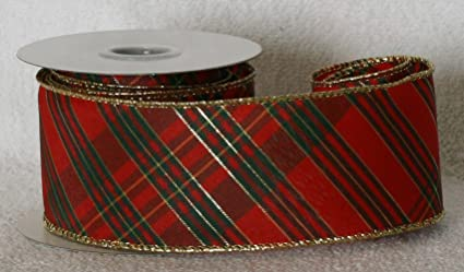 christmas wired sheer ribbon red with green and gold plaid gold wired edge - Christmas Wired Ribbon