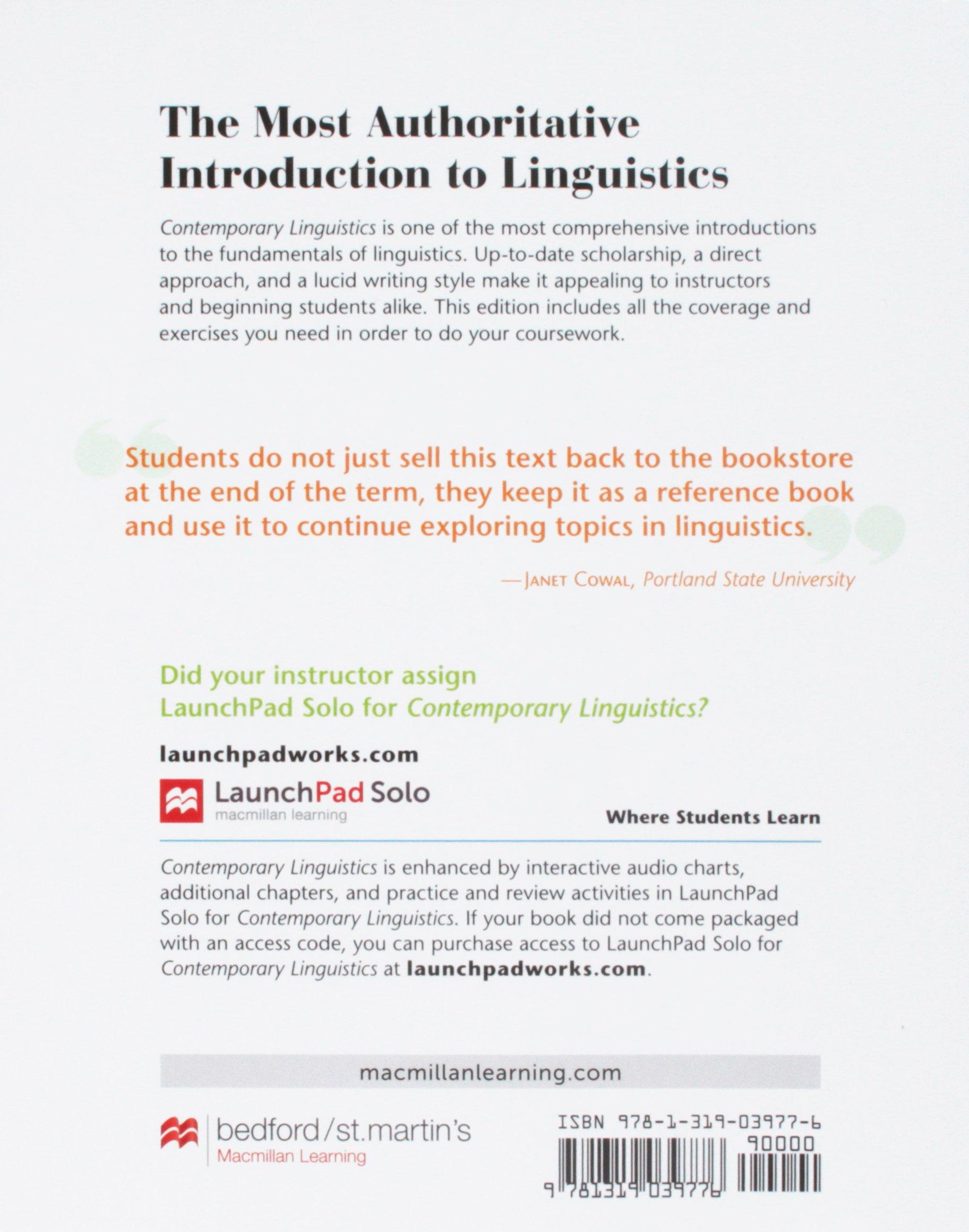Contemporary Linguistics 7e & Study Guide for Contemporary Linguistics 7e:  Amazon.co.uk: William O'Grady, John Archibald, Mark Aronoff, Janie  Rees-Miller: ...
