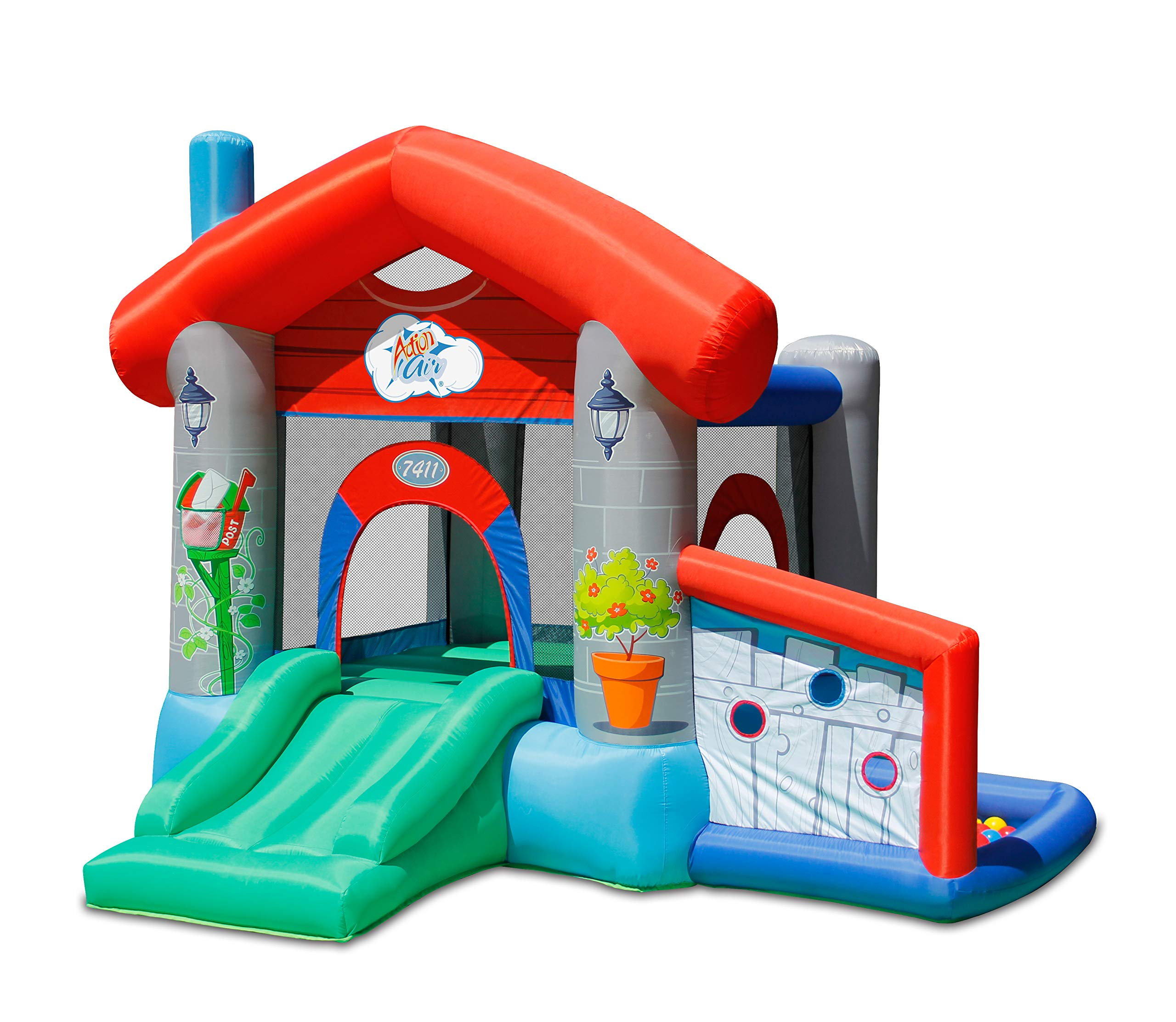ACTION AIR Castle House, Inflatable Castle with 30 Pit Balls, Jumping Castle with Slide for Outdoor and Indoor