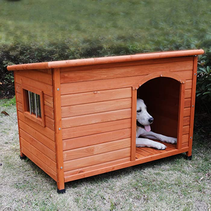 ROCKEVER Wood Dog Houses Outdoor Insulated, Weatherproof Dog Houses Outside with Door Cute Wooden
