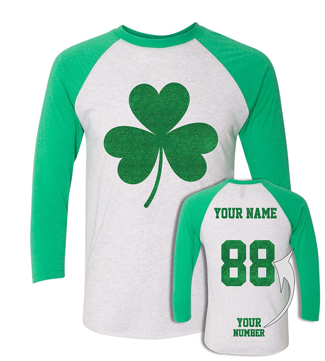 b0cb6a9c DESIGN YOUR OWN sparkly St. Patricks Day costume with your name and number.  JERSEY STYLE glitter design on the back makes ...