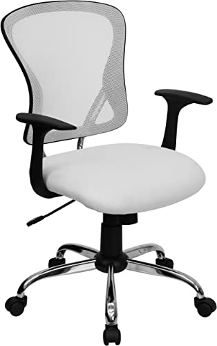 Flash Furniture Mid-Back White Mesh Swivel Task Office Chair