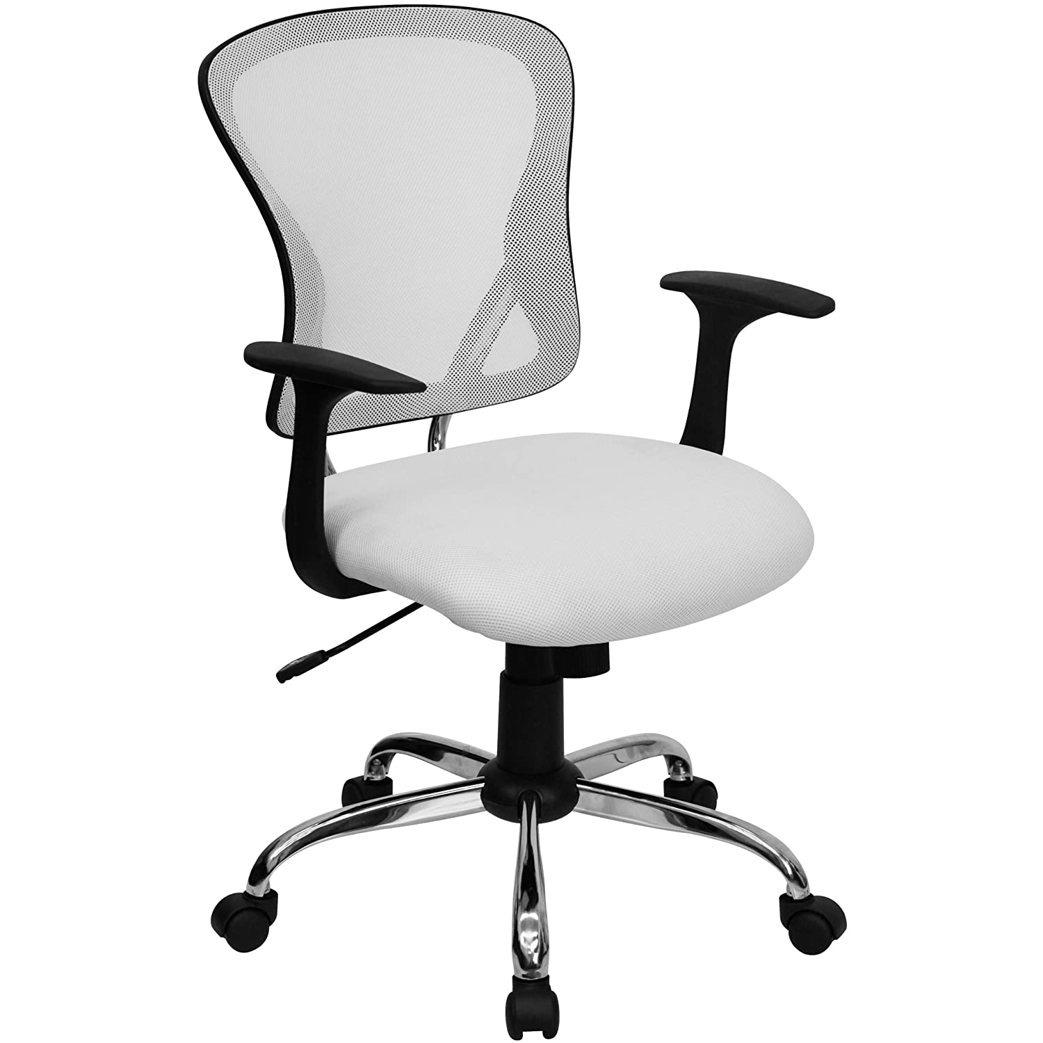 Black and white office chair - Amazon Com Mid Back White Mesh Swivel Task Chair With Chrome Base Kitchen Dining