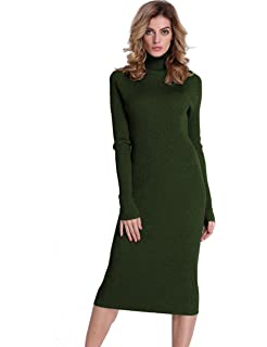 a837ab323e6 PrettyGuide Women Slim Fit Ribbed Turtleneck Long Sleeve Maxi Knit Sweater  Dress