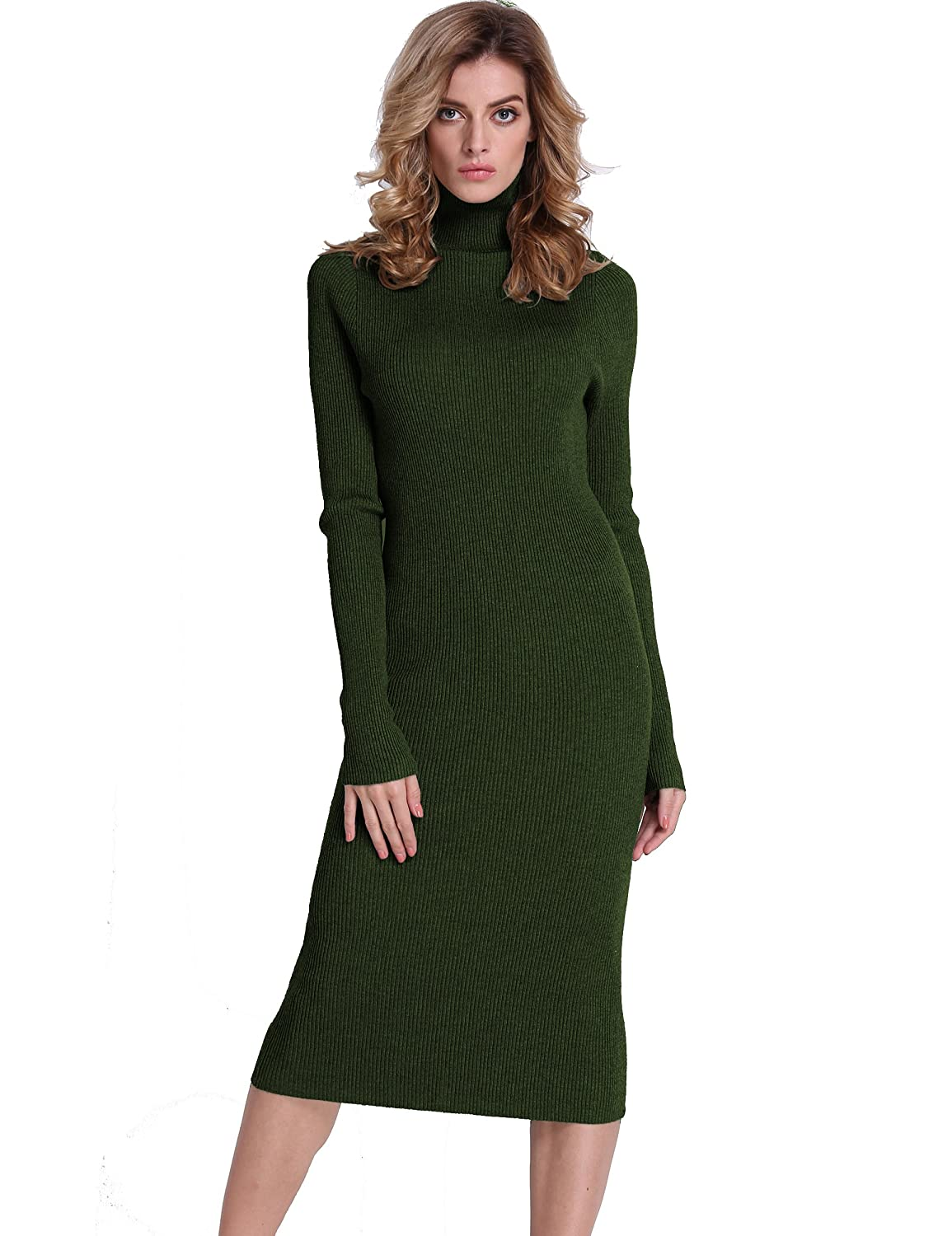 bfb60b3464 PrettyGuide Women Slim Fit Ribbed Turtleneck Long Sleeve Maxi Knit Sweater  Dress at Amazon Women s Clothing store