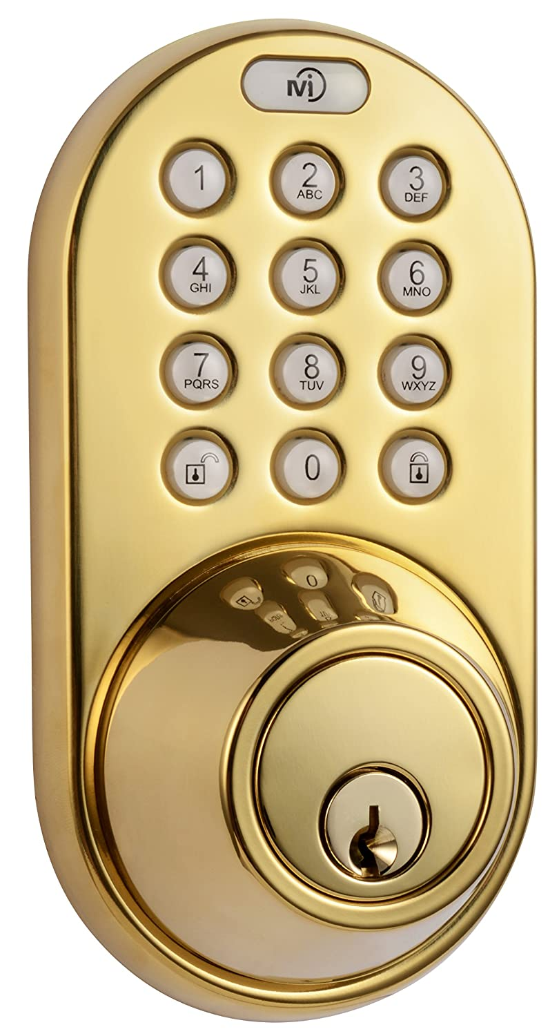 milocks df 02p keyless entry deadbolt door lock with electronic digital keypad entry polished brass amazoncom
