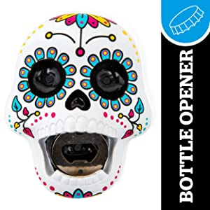 BigMouth Inc. Sugar Skull Bottle Opener – Hilarious Wall Mounted Bottle Opener, Fun Home Bar Accessories – Makes a Great Gift Idea
