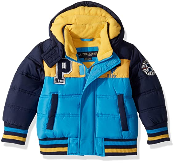 f01721479 US Polo Assn. Boys' Bubble Jacket with Rib Knit Cuffs