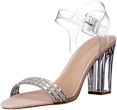 3fd4f399092 Madden Girl Women s Trena Heeled Sandal Clear 6.5 M US