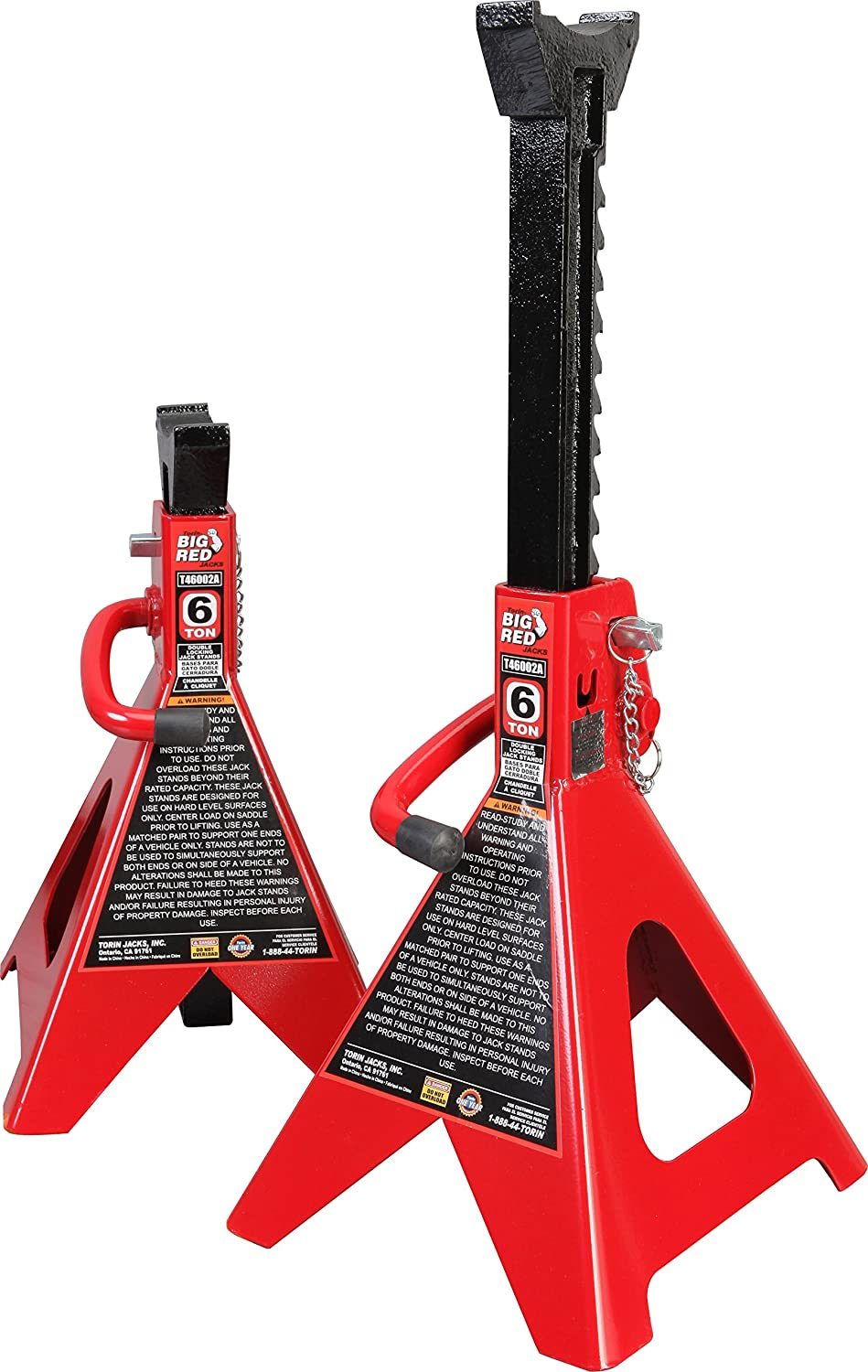 Torin T46002A Big Red Steel Jack Stands: Double Locking, 6 Ton Capacity, 1 Pair