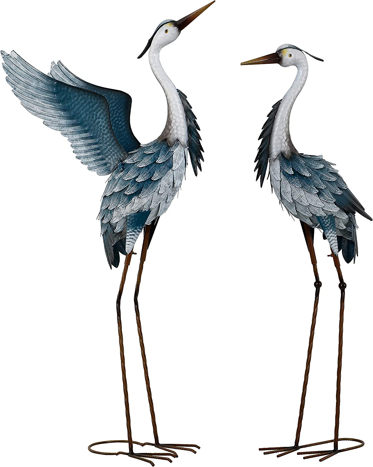 TERESA'S COLLECTIONS 40.7 inch Metal Cranes Garden Statues for Outdoor Decor, Set of 2 Standing Blue Herons Bird Art Sculptures for Yard Patio Lawn Porch Home Decorations