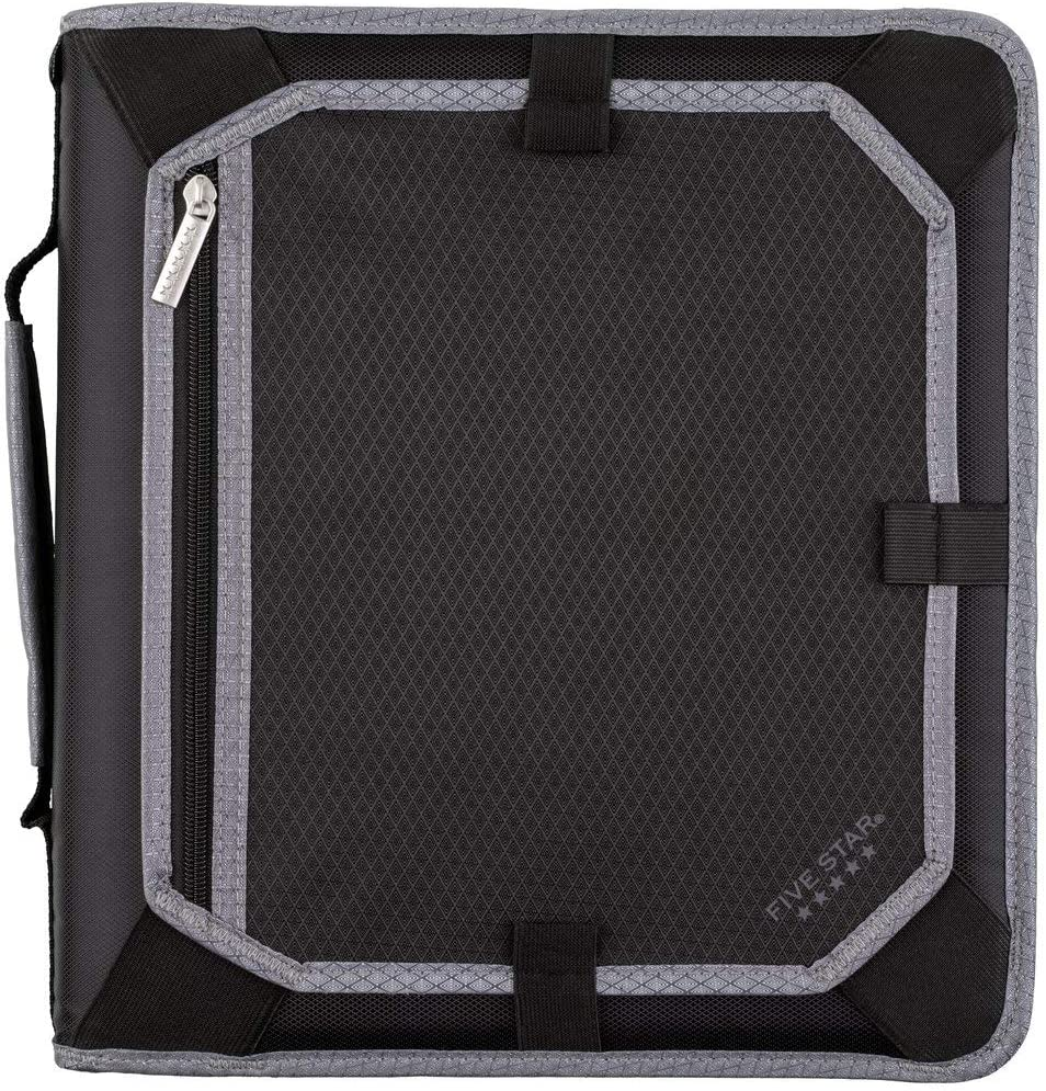 Five Star 2 Inch Zipper Binder, 3 Ring Binder, Expansion Panel, Durable, Black/Gray (29052IT8)