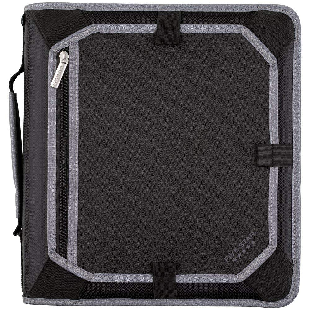 Five Star 2 Inch Zipper Binder, 3 Ring Binder, Expansion Panel, Durable, Black/Gray (29052IT8) by Five Star