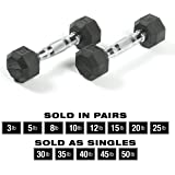 SPRI Dumbbells Hand Weights Deluxe Rubber Encased Chrome Handle All-Purpose Dumbbell (Available in 3, 5, 8, 10, 12, 15…
