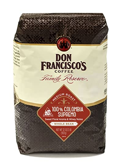 Don Franciscos Colombia Supremo Whole Bean Coffee, 100% Arabica Beans, Medium Roast (