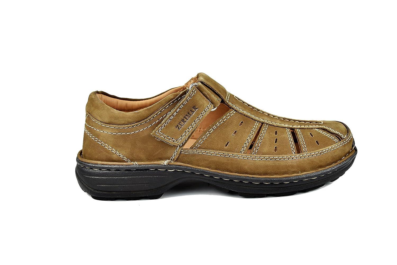 Zerimar Herren Sandalen | Trekking Sandalen für Wandern Herren | Sandalen Mann Wandern für | Herren LederSandale | Männer Sommer Sandalen | Farbe Moka Größe 43 - e04267