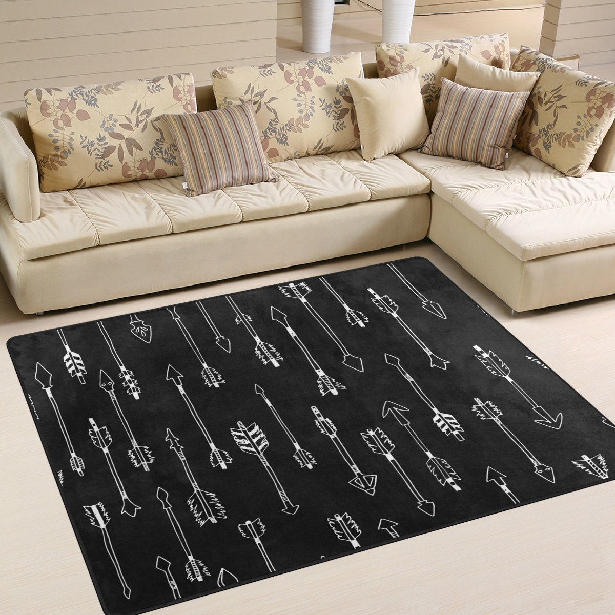 ALAZA Cartoon White Arrow Black Area Rug Rugs for Living Room Bedroom 5'3 x 4' g3512138p147c162s244