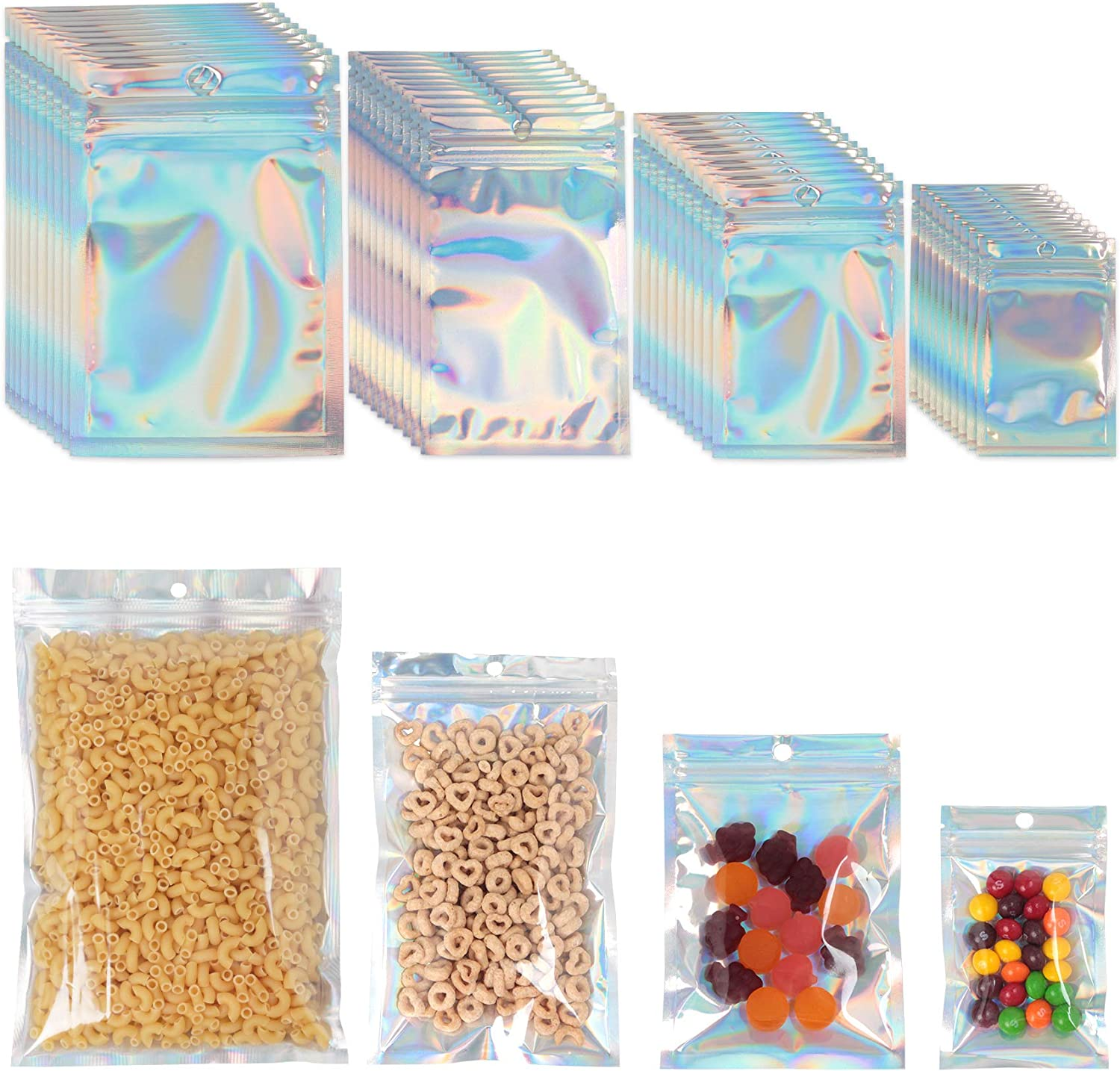 PUiKUS 100 PCS Reusable Mylar Bags ,Smell Proof Bags with Ziplock and Clear Window, for Candy and Food Packaging, Food Self Sealing Storage Supplie (Holographic)