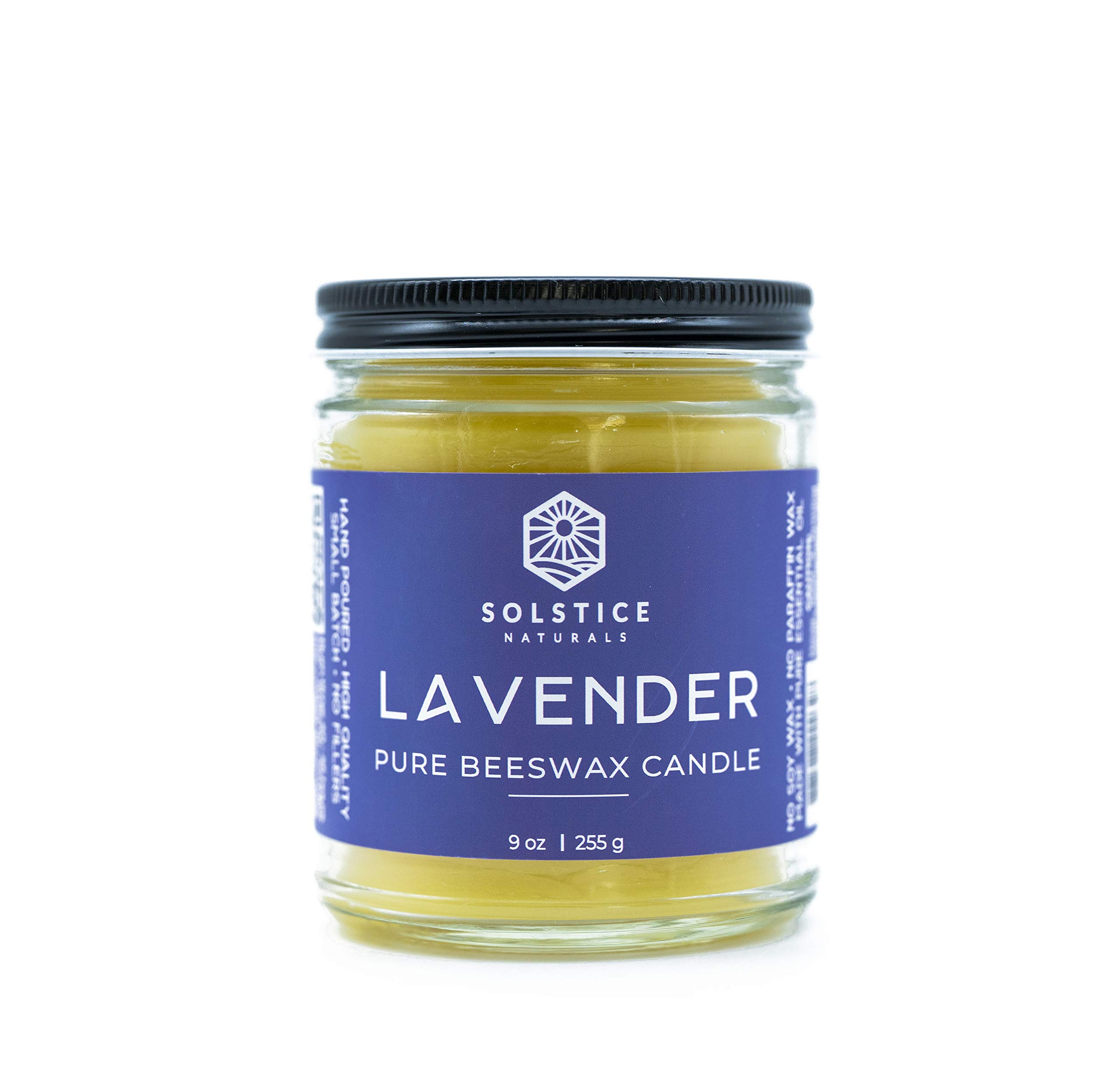 Solstice Naturals Lavender 100% Pure Beeswax Aromatherapy Candle - Naturally Scented with Essential Oil, 9 oz - Improved Scent - Handmade - No Soy Wax, No Paraffin Wax, No Synthetic Scents, No Fillers by Solstice Naturals