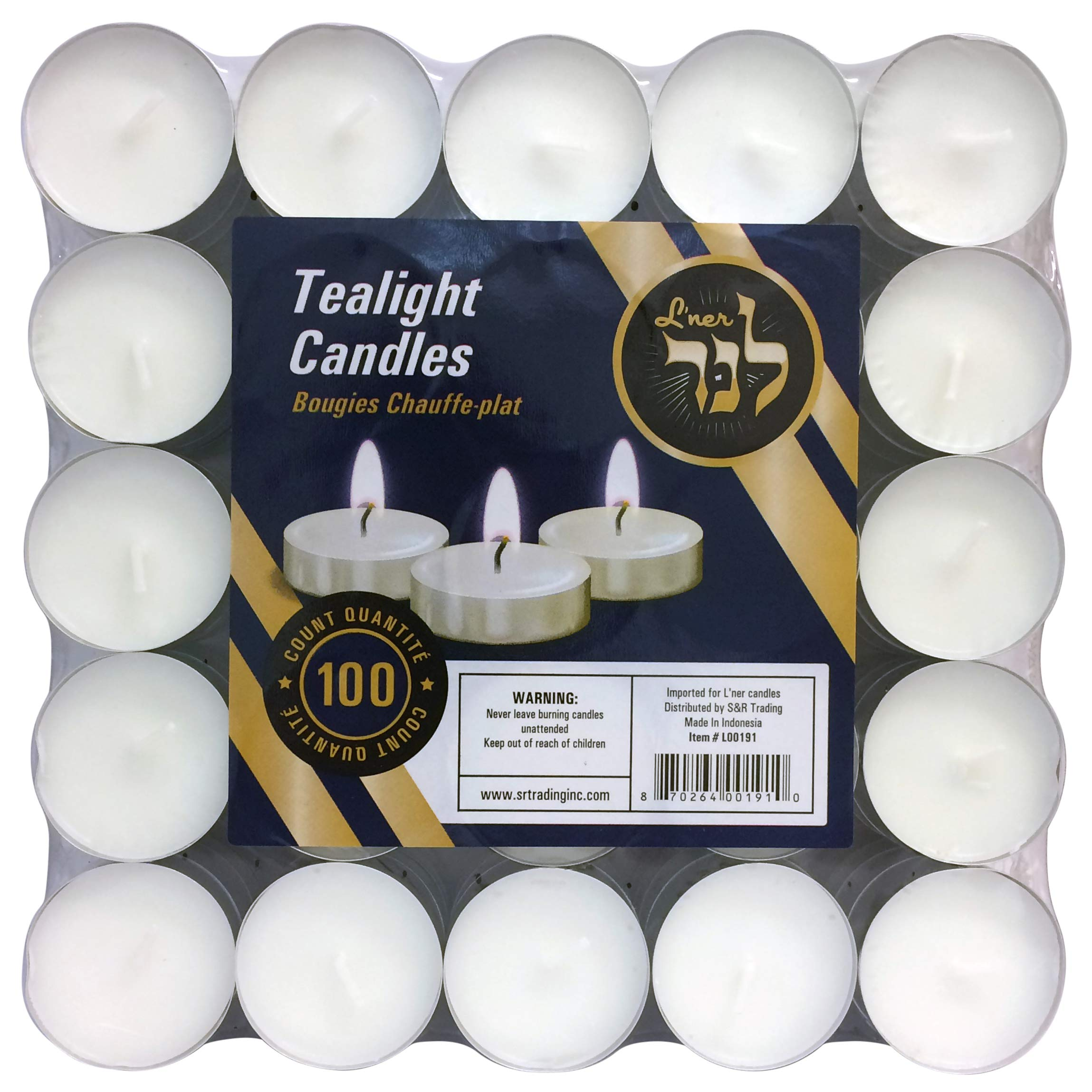 L'ner Tea Light Candles – Set of 100 Unscented Candles – Burns Aprx. 3.5 Hour – Party Candles – Tea Light Ambience Candles – Restaurant Decorations