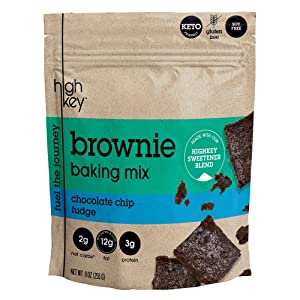 HighKey Snacks Low Carb Keto Brownie Baking Mix - Chocolate Chip Fudge, Grain & Gluten Free - Zero Sugar Added Dessert Brownies - Atkins, Paleo, Diabetic Diet Friendly - Naturally Sweetened