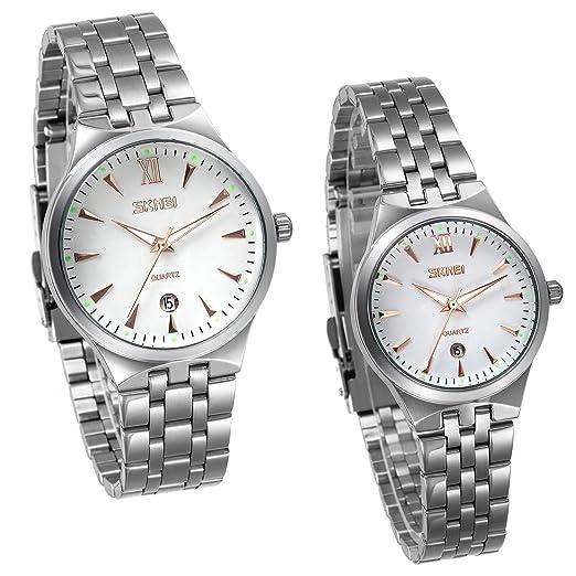 JewelryWe 2pcs Relojes para Parejas Enamorados, Reloj Cuarzo Analogico Correa de Acero Inoxidable Plateado Punteros Noctilucentes Dorado, Buen Regalo de ...
