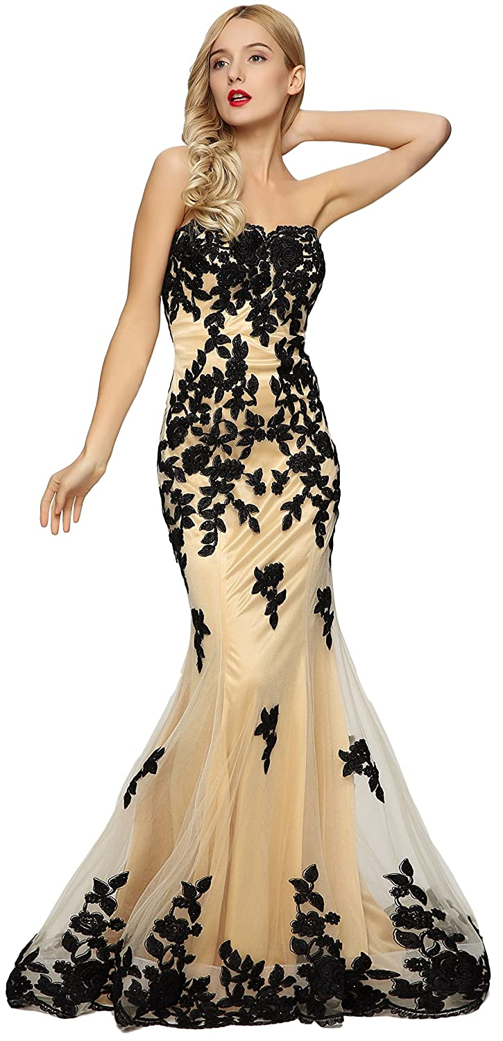 Amazon.com: Meier Women\'s Strapless Lace Bead Formal Evening Gown ...