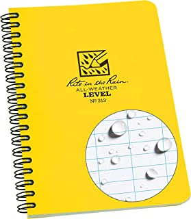 "product image for Rite in the Rain All-Weather Side-Spiral Notebook, 4 5/8"" x 7"", Yellow Cover, Level Pattern (No. 313)"